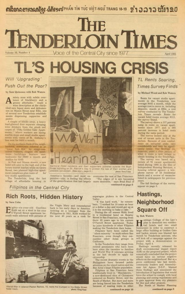front page of The Tenderloin Times with headline saying TL's Housing Crisis