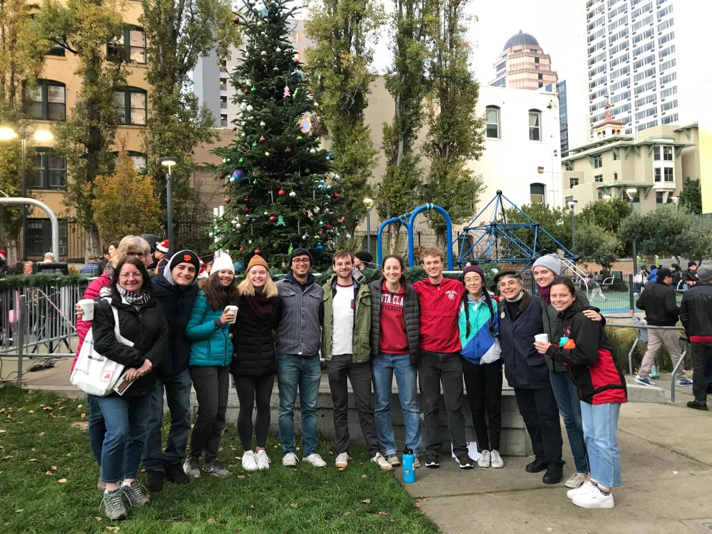 this is only the tenderloin's second community holiday tree, hosted by Boeddeker Park